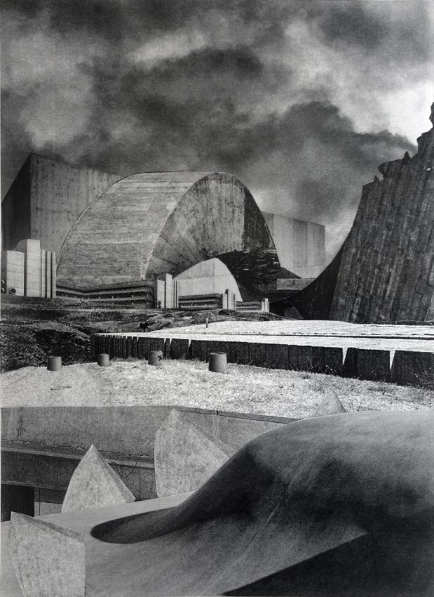 Asbjørn Skou: Death drive architecture, 2014. Kollage, 51,5x41 cm.
