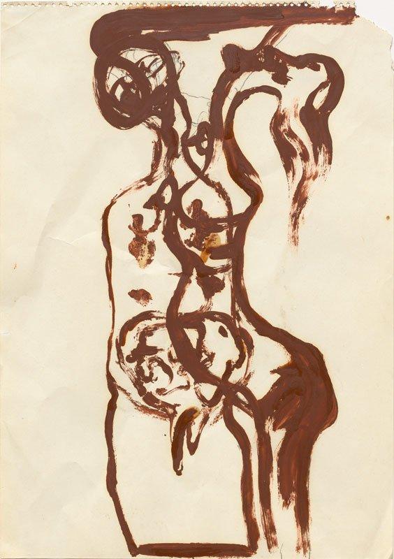 Joseph Beuys: (SCHAMANEN)-Tanz ((Shaman)-dans), 1964. Oliemaling [Braunkreuz] og blyant på chamoisfarvet papir, Privateje. (©Joseph Beuys Estate)