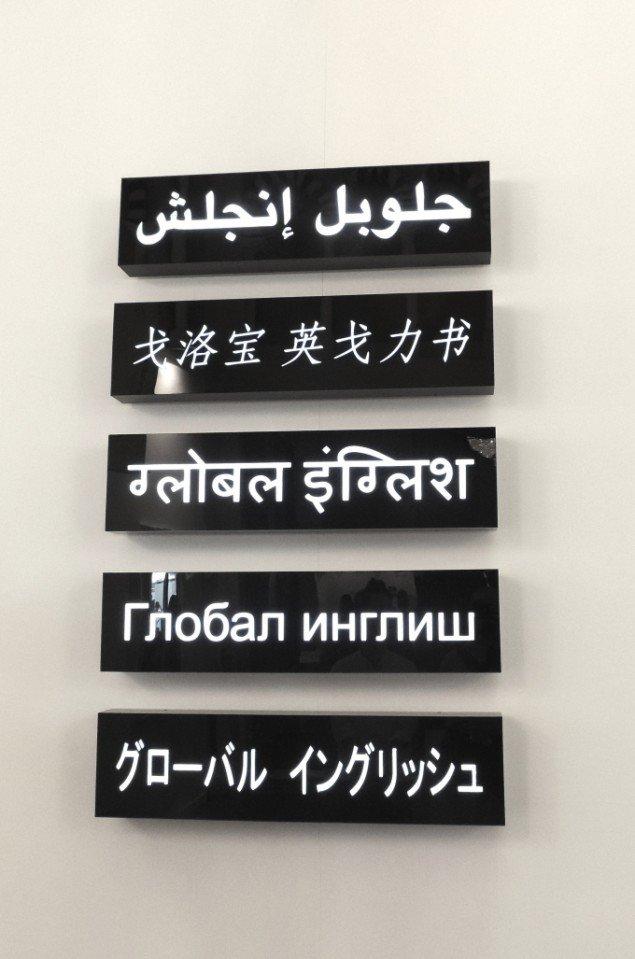 James Clar: Global English, 2011, her dog uden det hebraiske skilt. Foto: Theis Vallø Madsen