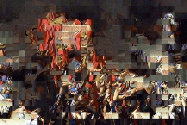 Rashid Rana War Within, 2013, 330x200 cm, Courtesy Chemould Prescott Road. Jacques-Louis David ompixelleret. Det store fotografi er imponerende. Pressefoto.