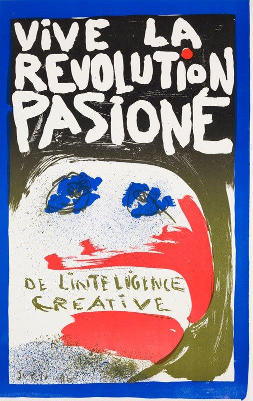 Asger Jorn: Længe leve den kreative intelligens' passionerede revolution 1968, farvelitografi. (copyright donation Jorn, Silkeborg)