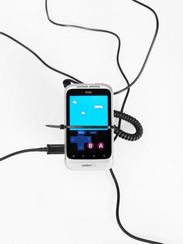 Cory Arcangel: Super Mario Clouds, her på en HTC-telefon. Det oprindelige værk er fra 2002 og har været udstillet i forskellige versioner. Pressefoto.