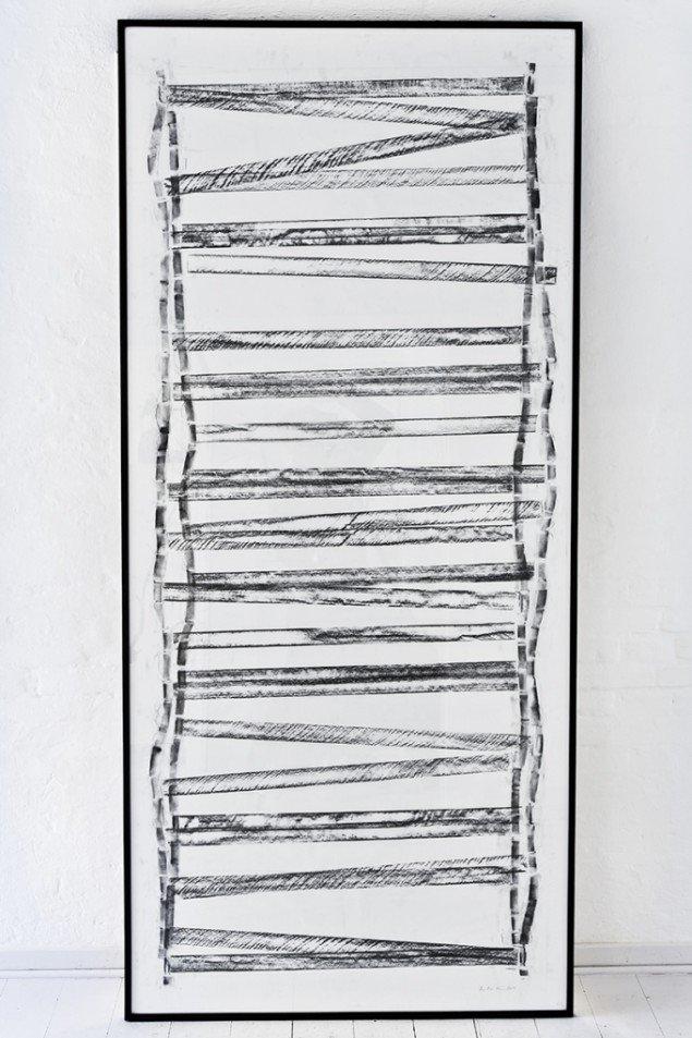 Tina Maria Nielsen: Naked, 2014. Frottage. På Hver og én, Charlotte Fogh Gallery. Foto: Gert Skærlund Andersen