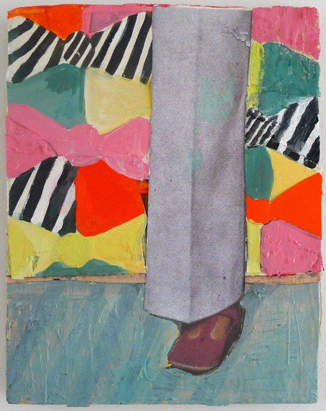 Mette Vangsgaard: Fra serien Legs and Shoes and Texture, 2013. Mixed media collage på lærred, 30x24 cm. Foto: Marie Kirkegaard