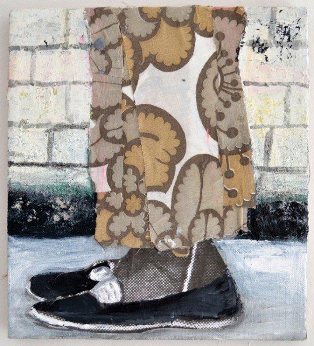Mette Vangsgaard: Fra serien Legs and Shoes and Texture, 2013. Mixed media collage på lærred, 30x27 cm. Foto: Marie Kirkegaard