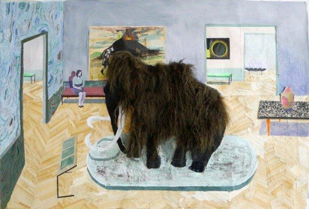 Mette Vangsgaard, Mammoth, 2014. Mixed media collage, 85x122 cm. Foto: Mette Vangsgaard