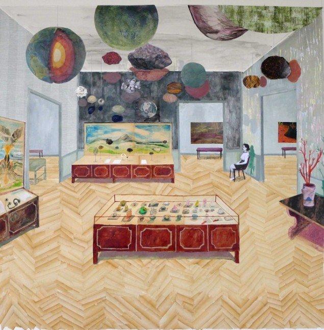 Mette Vangsgaard: Museum, 2014. Mixed media collage, 142x138 cm. Foto: Mette Vangsgaard