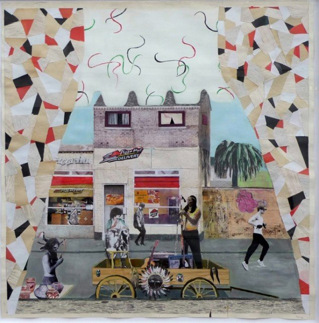 Mette Vangsgaard: Sell Out Indian, 2011. Mixed media collage, 130x127 cm.