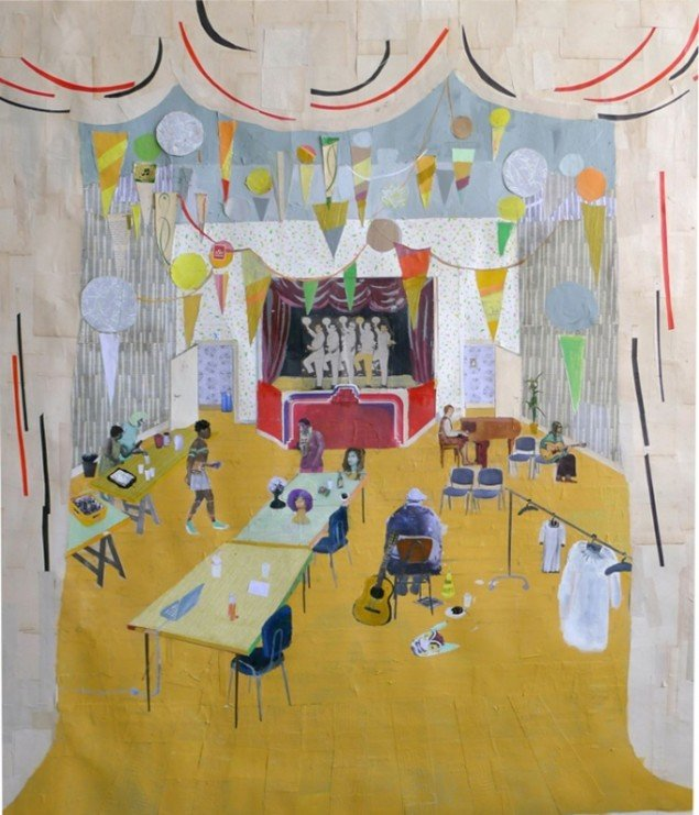 Mette Vangsgaard: They Practiced Everyday. Next Week They had 3 Shows in the Civic Center, 2013. Mixed media collage, 165x145 cm. Foto: Mette Vangsgaard