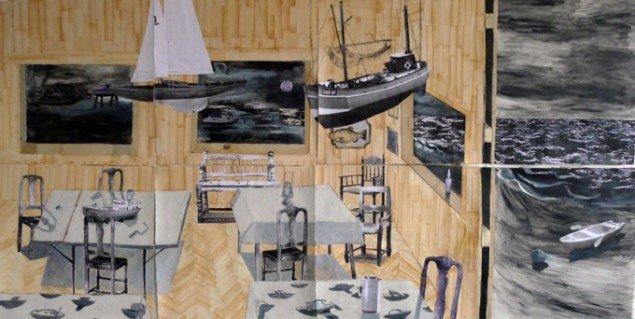 Mette Vangsgaard: Huset ved Havet, 2014. Mixed media collage, 133x267 cm. Foto: Mette Vangsgaard