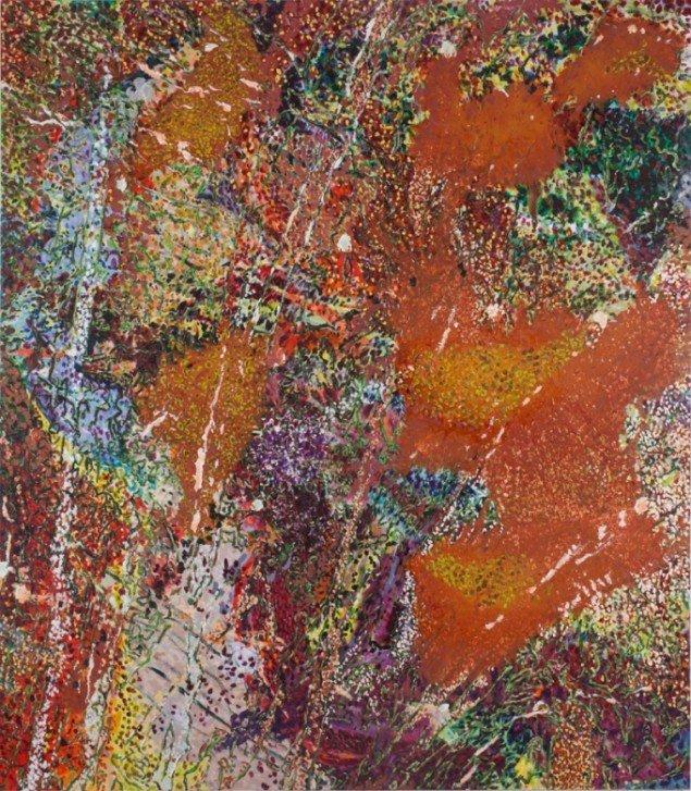Carsten von Würden: Tænkende Krystaller, 2013. Olie på lærred, 230x200 cm. På Double Butterfly, Myrrapollen og Den usynlige kat, Vestjyllands Kunstpavillon. Foto: Jesper Palm