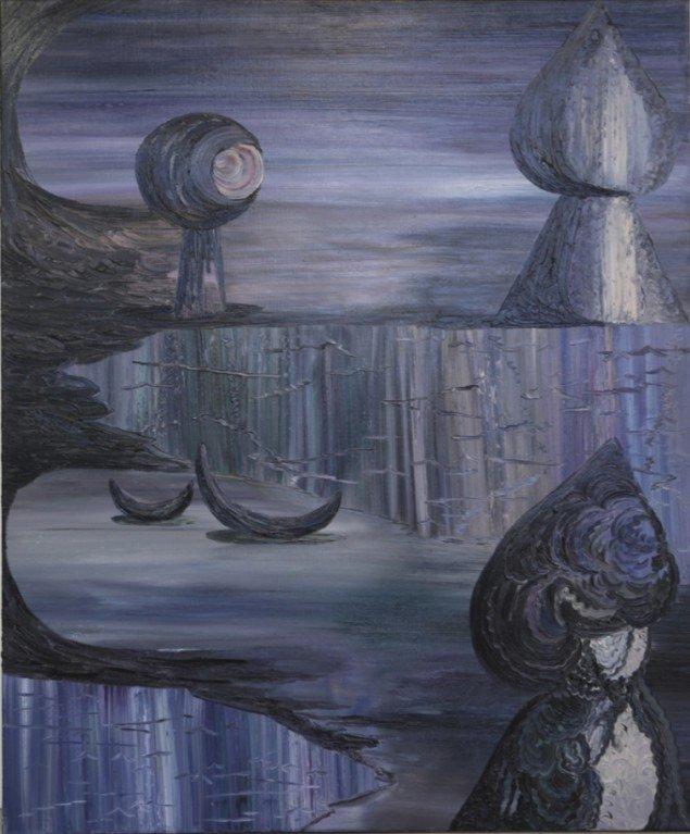 Fie Norsker: Night Call, 2012. Olie på lærred, 120x100 cm.  På Double Butterfly, Myrrapollen og Den usynlige kat, Vestjyllands Kunstpavillon. Foto: Martin Brand