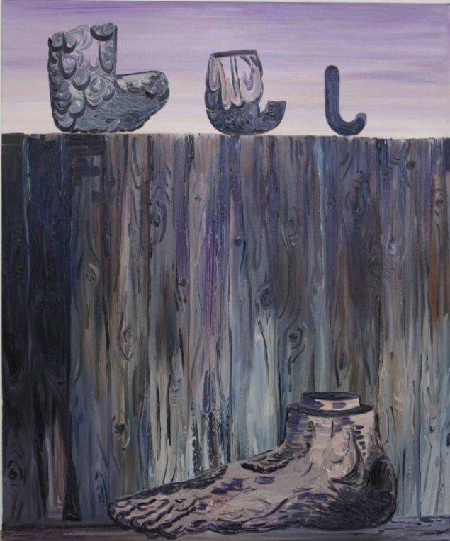 Fie Norsker: The Foot, 2012. Olie på lærred, 120x100 cm. På Double Butterfly, Myrrapollen og Den usynlige kat, Vestjyllands Kunstpavillon. Foto: Martin Brand