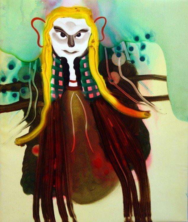 Kathrine Ærtebjerg: Hendes skæbne, 2013. Akryl, spray og olie på lærred, 60 x 50 cm. På Double Butterfly, Myrrapollen og Den usynlige kat, Vestjyllands Kunstpavillon. Foto: Anders Berg