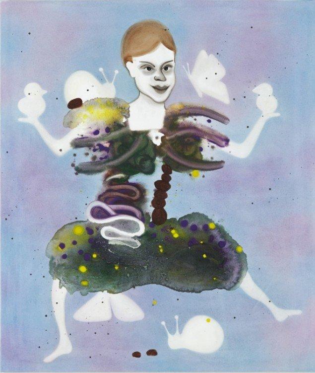 Kathrine Ærtebjerg: Hun var blød som skovbunden, 2011. Akryl og olie på lærred, 100 x 85 cm. På Double Butterfly, Myrrapollen og Den usynlige kat, Vestjyllands Kunstpavillon. Foto: Anders Berg