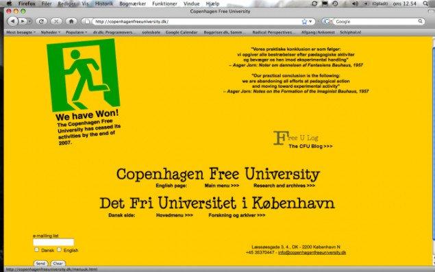 Det Fri Universitet i København 2001 2007 (hjemmeside)