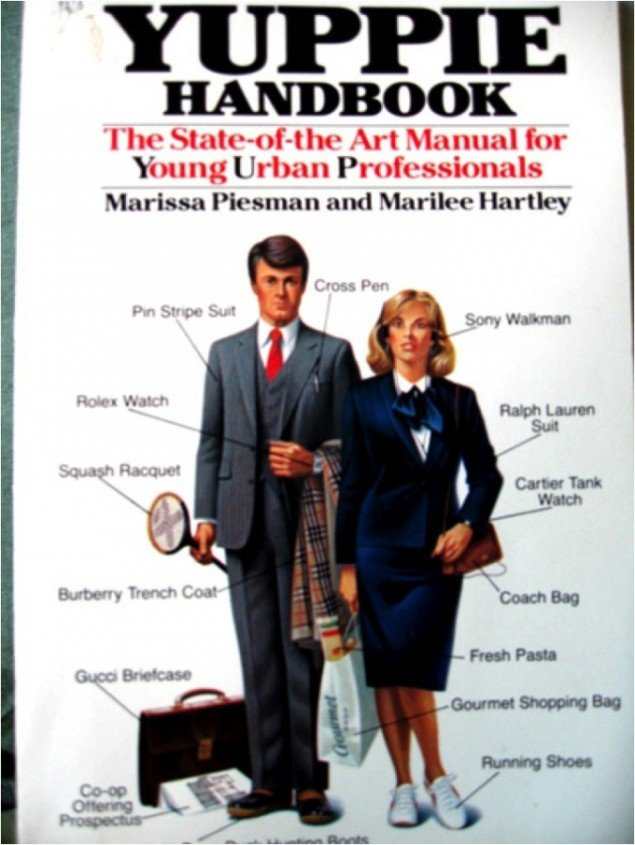 Forside på bogen The Yuppie Handbook: The State-of-the-Art Manual for Young Urban Professionals, 1984.
