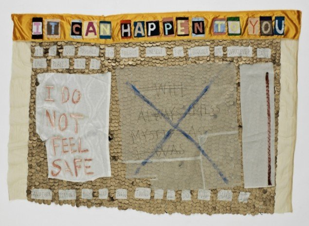 It Can Happen To You, 2011-14. Applikeret silke, nappa, oliemaling, blyant. 90x132 cm. Foto: Jeppe Sørensen.