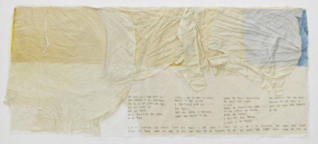 """""""Letter to X"""", 2011-14, applikeret silke, blyant 82x161 cm. Foto: Jeppe Sørensen."""
