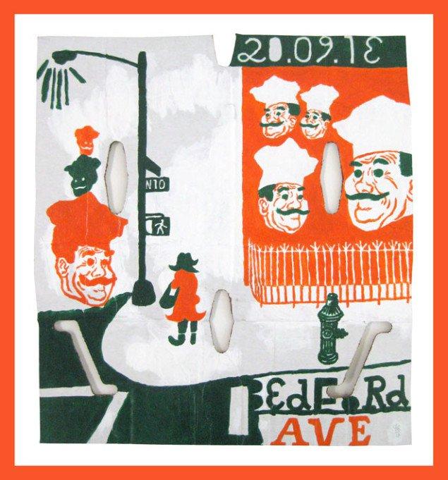 Søren Behncke: Bedford avenue, 2013, 43,5 x 40 cm, akryl på pap. Courtesy Charlotte Fogh Gallery.