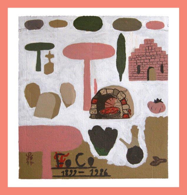 Søren Behncke: Franciska Clausen, 2014, 31,5 x 29 cm, akryl på pizzabakke. Courtesy Charlotte Fogh Gallery.