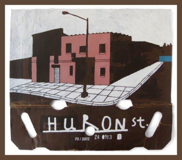 Søren Behncke: Huron St, 2013, 43,5 x 49 cm, akryl på pap. Courtesy Charlotte Fogh Gallery.