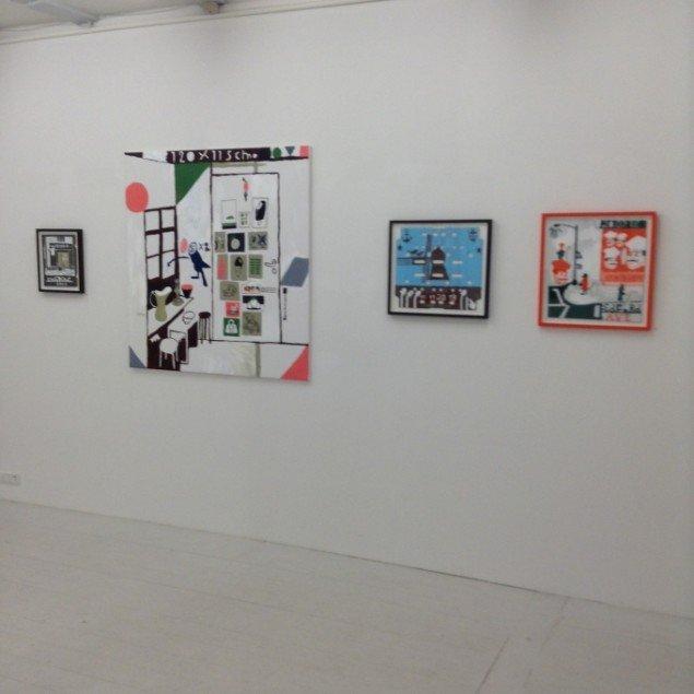 Backdrop & Dropouts, udstillingsview, på Charlotte Fogh Gallery. Foto: Charlotte Fogh Gallery.