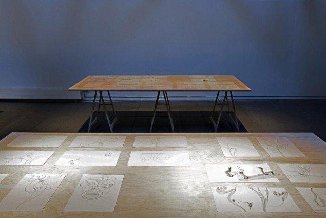 Odey Curbelo: Organic Studies, mixed media installation, 244 x 122 x 75 cm (bord med 15 stk. tegninger). Udstillingsview fra Nina Wengel & Odey Curbelo: Following eternity, KUNSTPAKHUSET. Foto: Ismar Cirkinagic