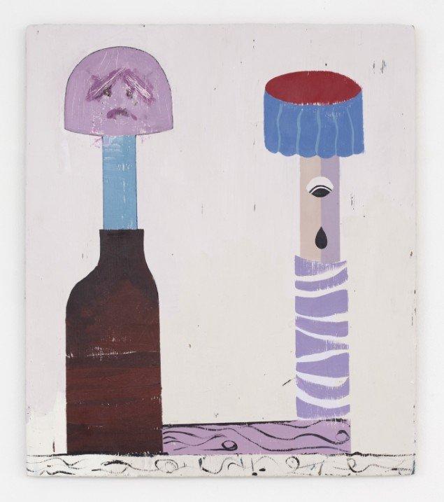Nel Aerts: Drinking Buddies, 2014, akryl på træ, 70,5x60,5cm. Foto: Erling Lykke Jeppesen.