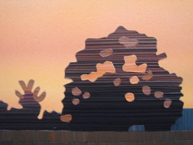 De enkelte farvelag fremstår som abstrakte papirudklip. Allan Otte, Slut, 2008 (udsnit). Foto: Kasper Lie
