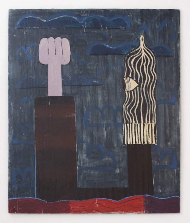 Nel Aerts: Midnight Melancholy, 2013-14, akryl og farveblyant på træ, 112,5x94,5cm. Foto: Erling Lykke Jeppesen.
