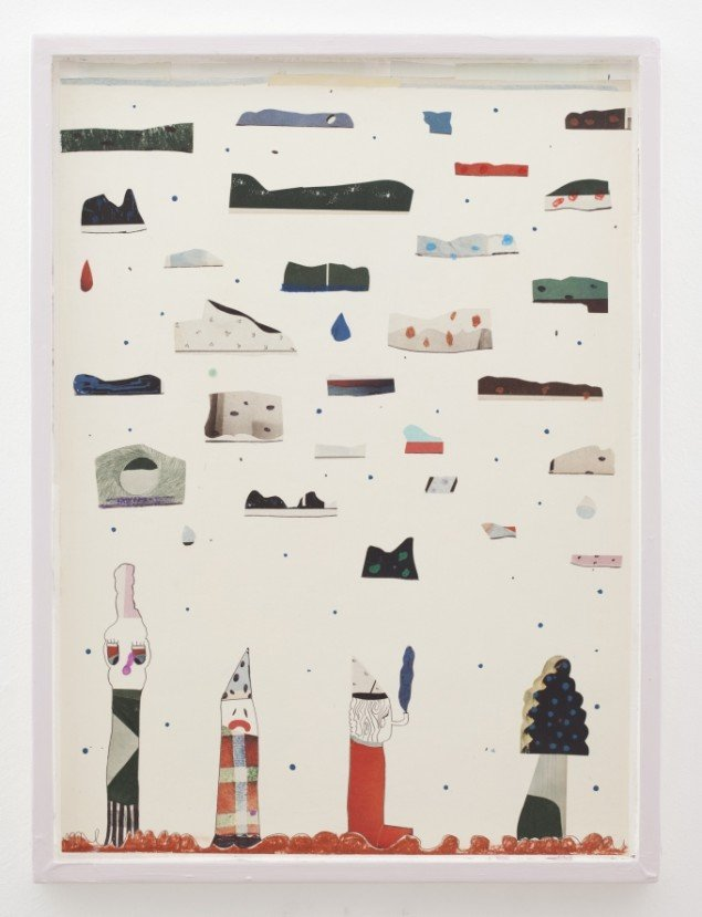 Nel Aerts: The Master, the Clown, the Smoker and the Tree, 2014, collage, 69,5x52cm. Foto: Erling Lykke Jeppesen.