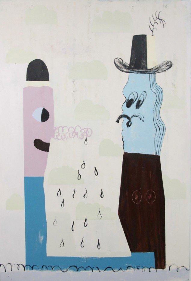 Nel Aerts: Uncanny Conversations, 2014, akryl på træ, 179x122cm. Foto: Erling Lykke Jeppesen.