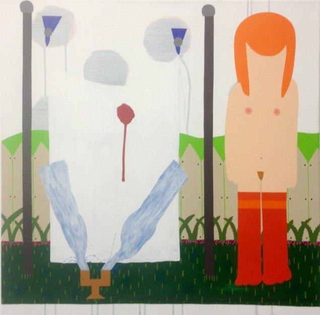 Kristian Devantier: Alisons mødom og en havevander, 2011, akryl på lærred, 80x80cm. Foto: Erling Lykke Jeppesen.