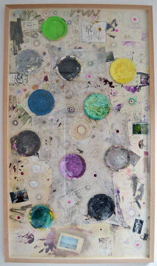 Anders Brinch: Life Circles, 2014, mixed media collage på birkefinér, 130x230 cm. Foto: Marie Kirkegaard.