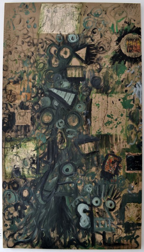 Anders Brinch: In the Woods, 2014, mixed media collage på lærred, 125x225 cm. Foto: Marie Kirkegaard.