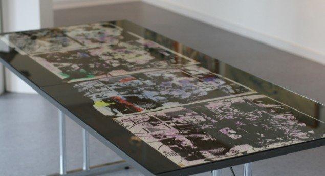 De fire værker af Peter Louis-Jensen, der er delvist fortæret af mus.