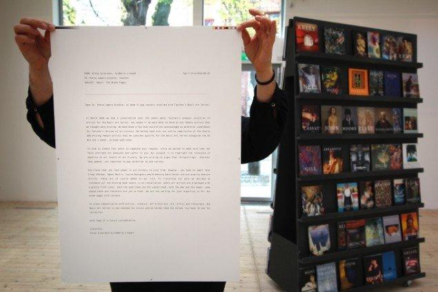 Print af emailen til Taschen, der startede det hele. Foto: Malmö Konsthall.