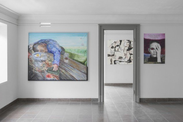 Erik Hagens: AFR som Teenager, 2013. Maleri. På Regibemærkninger, Møstings Hus, 2014. Foto: Thomas Cato