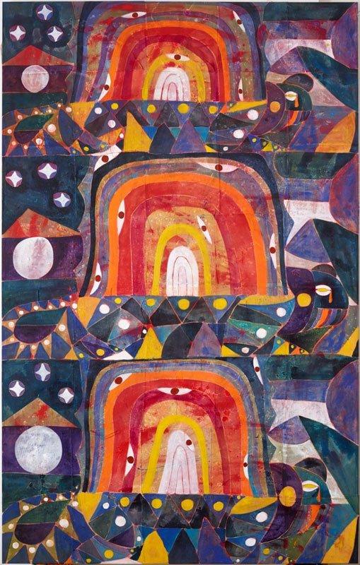 Alexander Tovborg, Bocca Baciata LVII, 2014 Akryl og stof-collage på lærred, 310x195 cm. Foto: Anders Sune Berg. Courtesy: Galleri Nicolai Wallner