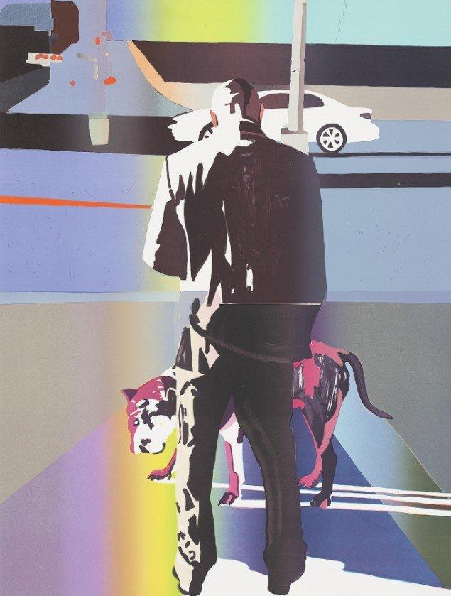 Erik A. Frandsen: Mand og hund, Harlem New York, 2013. Litografi, 1600 x 1200 mm. Privateje. På Erik A. Frandsen - Det grafiske værk , Randers Kunstmuseum. Foto: Lars Gundersen/Edition Copenhagen