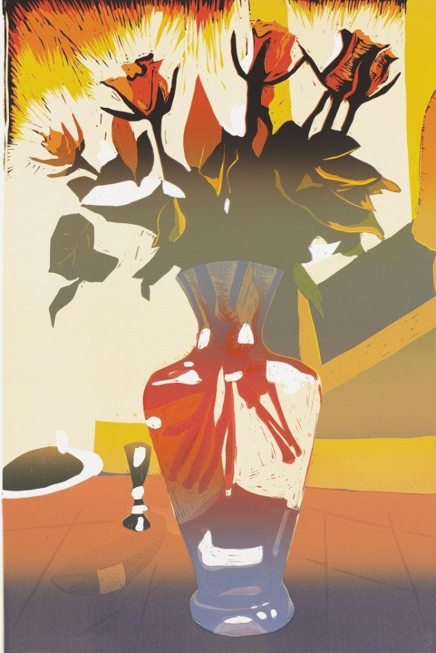 Erik A. Frandsen: Blomst, Glasvase, Fælledvej, 2013. Linoleumssnit, 1200 x 800 mm. Privateje. På Erik A. Frandsen - Det grafiske værk , Randers Kunstmuseum. Foto: Lars Gundersen/Edition Copenhagen