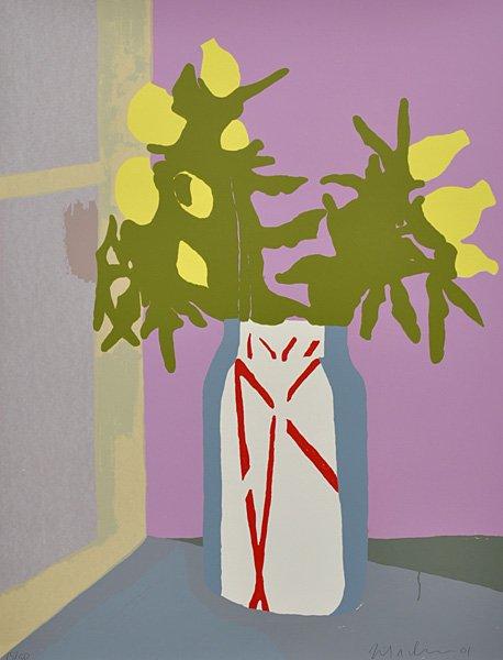 Erik A. Frandsen: Tidsler i syltetøjsglas, 2001. Serigrafi, 910 x 700 mm. Privateje. På Erik A. Frandsen - Det grafiske værk , Randers Kunstmuseum. Foto: Lars Gundersen/ Edition Copenhagen