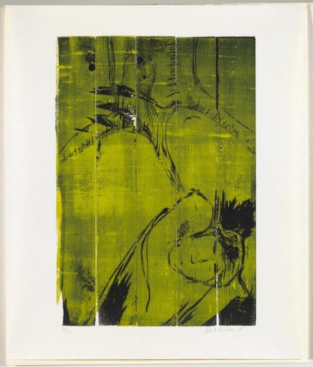 Erik A. Frandsen: Marat I-V, 1985. Farvetræsnit,  615 x 430 mm. Tilhører ARoS Aarhus Kunstmuseum. På Erik A. Frandsen - Det grafiske værk , Randers Kunstmuseum. Foto: Svend Pedersen/ Horsens Kunstmuseum
