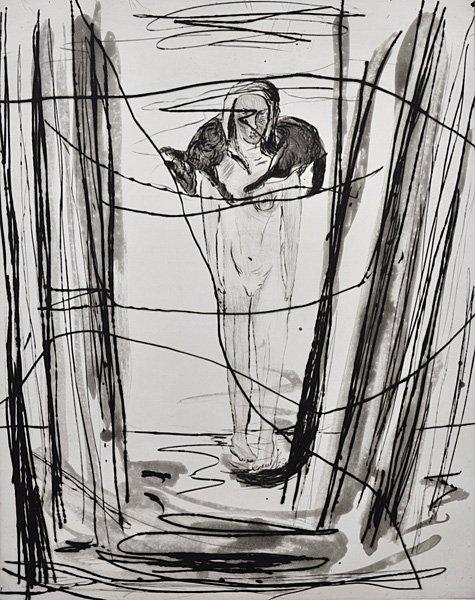Erik A. Frandsen: Pige og hund, 1986 (Fra suite på 5). Kobbertryk (akvatinte, koldnål), 540 x 523/ 497 x 397 mm. På Erik A. Frandsen - Det grafiske værk , Randers Kunstmuseum. Foto: Randers Kunstmuseum