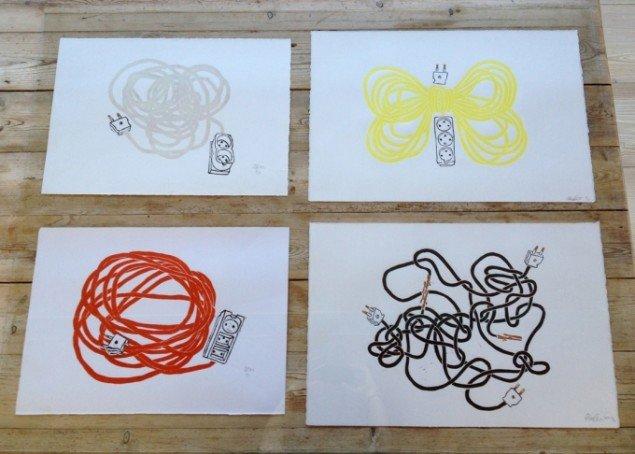 Rose Eken: Kabler, 2012-14. Linoleumssnit. På Det Milde Westen, m.galleri. Foto: Rose Eken og Søren Behncke