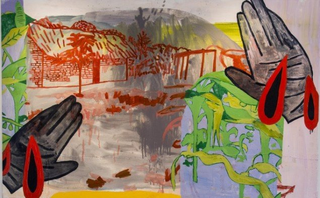 Linda Bjørnskov: Fina Kamara's village without hands, 2014. Olie på lærred, tråd, 126 x 200 cm. På Fina Kamara's Story and me, Vendsyssel Kunstmuseum. Courtesy Linda Bjørnskov