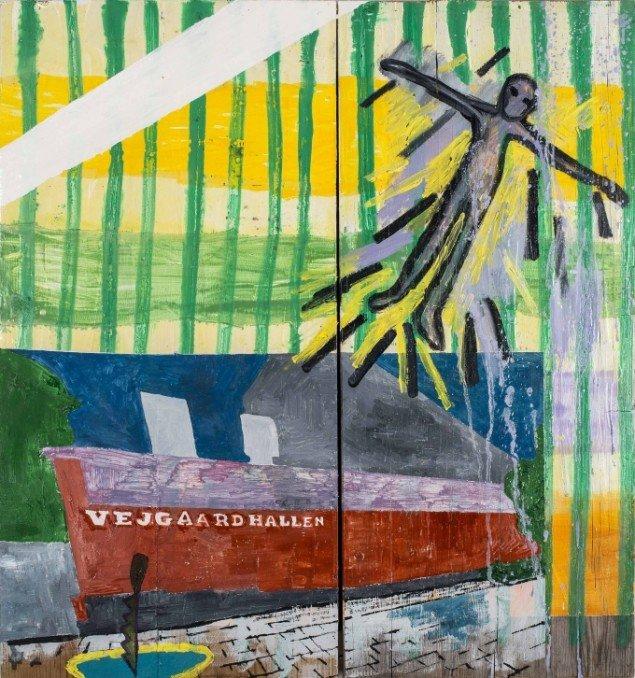 Linda Bjørnskov: To feel blue, Vejgaard 1994, 2013-2014. Olie på træbrædder, 62 x 58 cm. På Fina Kamara's Story and me, Vendsyssel Kunstmuseum. Courtesy Linda Bjørnskov
