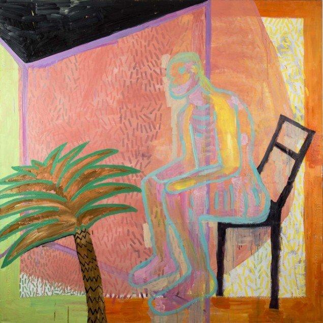 Linda Bjørnskov: Transparent, 2013-2014. Olie på lærred, tråd, 173 x 173 cm. På Fina Kamara's Story and me, Vendsyssel Kunstmuseum. Courtesy Linda Bjørnskov
