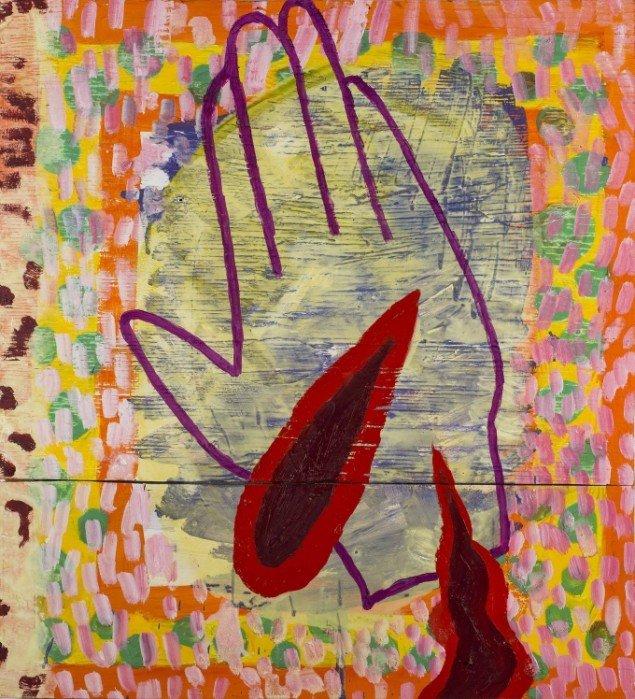 Linda Bjørnskov: Hånd i himlen, 2013-2014. Olie på træbrædder, 72 x 66 cm. På Fina Kamara's Story and me, Vendsyssel Kunstmuseum. Courtesy Linda Bjørnskov